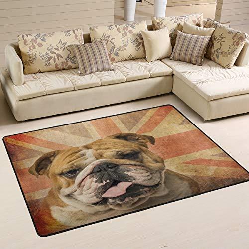 XiangHeFu Fußmatte mit englischer Bulldogge, 91,4 x 61 cm, weich, für Wohnzimmer, Schlafzimmer, Wohnzimmer, Küche, Dekoration, Gesponnenes Polyester, Image 3, 72x48 Inches