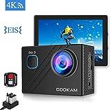 GOOKAM Action Cam 4K 20MP WiFi Unterwasserkamera 40M Wasserdicht EIS Sportkamera mit Externem Mikrofon 2.4G Fernbedienung Ultra HD Helmkamera und Zwei Batterien