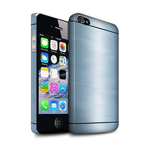 STUFF4 Matte Snap-On Hülle / Case für Apple iPhone 4/4S / Blau Muster / Gebürstetem Metall Mutser Kollektion (Metall Iphone Gebürstetem 4s Case)