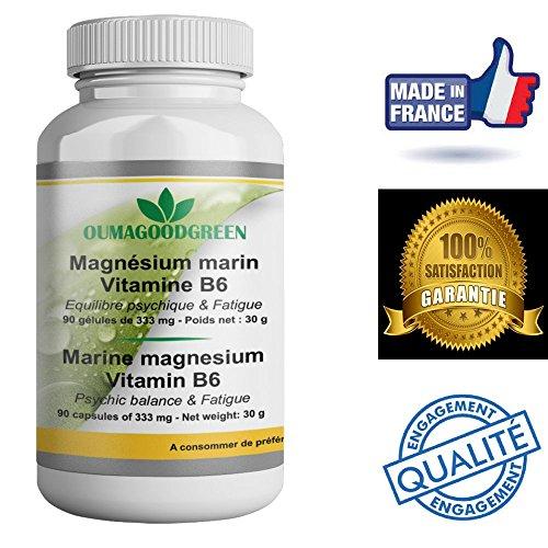 Magnésium marin-Vitamine B6–90 Gélules–Vitalité-Effet relaxant –OFFERT Facture+Notice d'utilisation – Magnesium 333MG efficace pour retrouver de l'énergie et une meilleure forme, sans effets indésirables