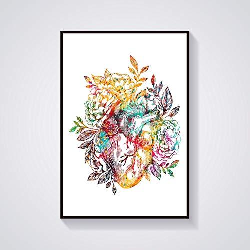DYCUN Leinwand Wandkunst, Abstraktes Herz-Lungen-Aorta-Ader und Herz-Arm Knochen Art Schüssel Hygieia Künstliche Intelligenz Anatomische Medizinische und Wissenschaft Poster No Frame Hanging Gemälde