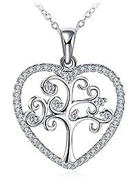 """Collar Mujer, Gundula Colgante Plata de Ley 925 Brillante Circonita """"Árbol de Corazón"""" Cadena 45cm-50cm con Hermosa Caja de Regalo para Día de la madre"""
