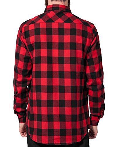 Urban Classics Herren Freizeithemd Checked Flanell Shirt Mehrfarbig (Blk/Red 44)