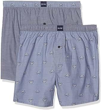 Skiny Herren Boxershorts Per4mance Pant 2er Pack, Blue Selection XL