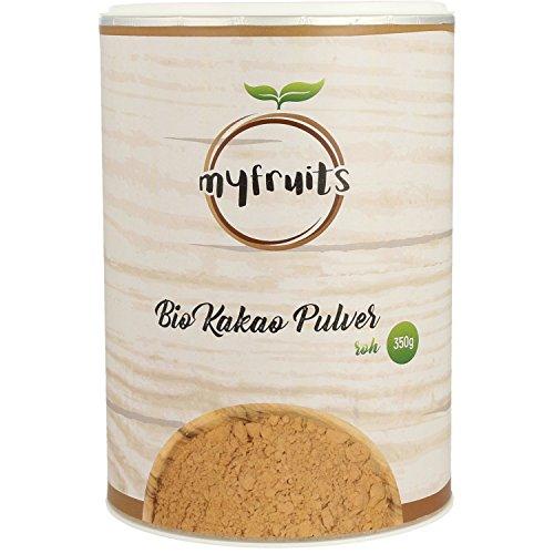 myfruits Bio Kakao Pulver - ZUM EINFÜHRUNGSPREIS - stark entölt, roh, nur 11% Fett. Aus peruanischem Criollo Kakao. Natürlich und unbehandelt, rohkost, ohne Zucker. Abgefüllt in Deutschland - finest superfood (350g) (Roh-zucker)