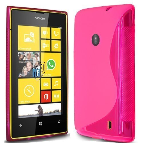 Pink S Line Side Grip Gel Silicone Case Skin Cover For Nokia Lumia 520  available at amazon for Rs.399