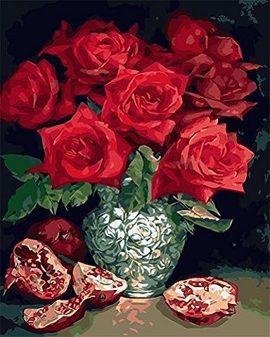 """CaptainCrafts Neu Malen nach Zahlen 16x20"""" für Erwachsene Anfänger Kinder, Kinder Leinwand - Atemberaubend rote Rosen - Weihnachten Valentinstag Geburtstag das Beste Geschenk (Ohne Frame)"""