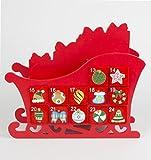 Holz Adventskalender Weihnachtskalender Schlitten 25 x 29 x 10 cm - 2