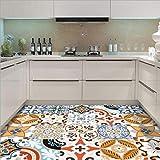JY ART Decorativos Adhesivos para Azulejos Pegatina de Pared - Azulejos de Azulejo Vintage Efecto Autoadhesivo para Espesar Piso Resistente al Desgaste Cocina Baño Sala de Estar, 45 * 45cm*12pcs