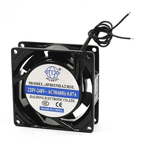 DealMux 2-Wire Marco del metal de flujo axial AC Fan, 220V de refrigeración - 240V, 0,07 Amp, 80 mm x 80 mm x 26 mm