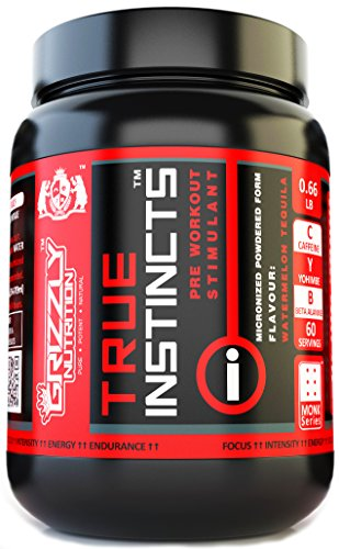 GRIZZLY NUTRITION - PRE WORKOUT - 60 Servings, 300gm/0.66lb - TRUE INSTINCTS - Flavour : WATERMELON TEQUILA