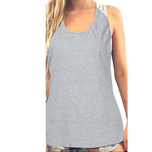 HOOUDO Frauen Sommer Casual O Ausschnitt Kurzarm Täglich Shirt Tops Bluse Spitze Weste Kurzarm T-Shirt (M, Hellgrau) (Dunkle Grundlegende T-shirt)
