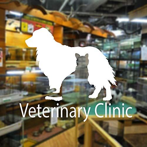 jiuyaomai Tierklinik Fensteraufkleber Vinyl Innendekoration Tapete Abnehmbare Haustier Dekor Glas Aufkleber Selbstklebende Wandbild lila 68x57 cm -