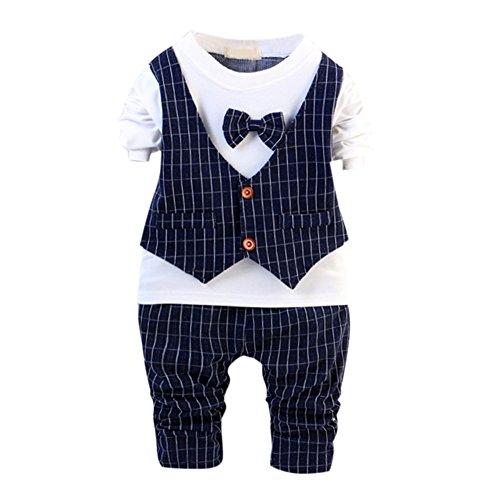 de feuilles Kinder Geschenk Baumwolle 2stk Gentleman Neugeborenes Baby Pants + shirt Kleidung Suit (110, Blau) (Stil Asiatischen Kleidung)