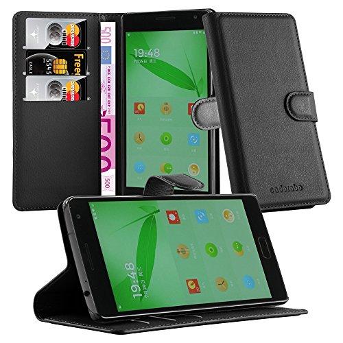 Cadorabo Hülle für OnePlus One 2 Hülle in Phantom schwarz Handyhülle mit Kartenfach & Standfunktion Case Cover Schutzhülle Etui Tasche Book Klapp Style Phantom-Schwarz