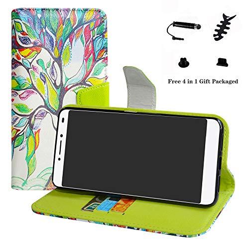 LFDZ Alcatel 3v Hülle, [Standfunktion] [Kartenfächern] PU-Leder Schutzhülle Brieftasche Handyhülle für Alcatel 3v Smartphone (mit 4in1 Geschenk Verpackt),Love Tree