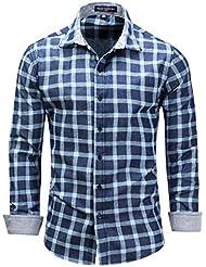 Chemise à manches longues pour hommes à manches longues Chemise à carreaux d'automne M-3XL