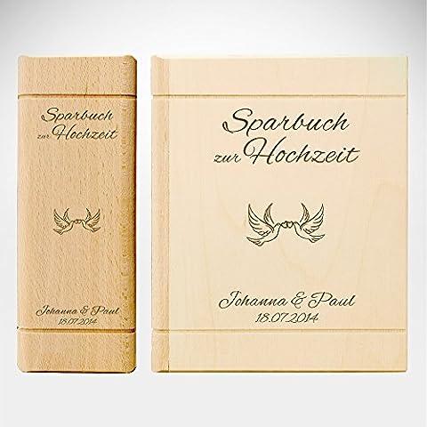 Spardose Buch aus Holz mit Gravur zur Hochzeit - Motiv Tauben – Personalisiert mit Namen und