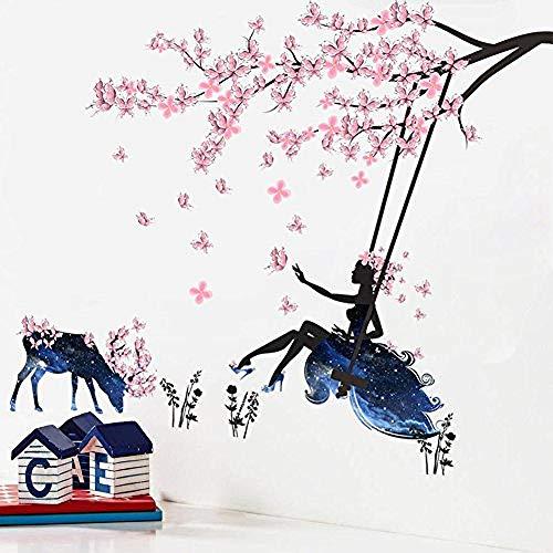 Wandtattoos Wandbilder Rosa Pansy Tree Swing Flower Fairy Girl im blauen sternenklaren Himmel upupupup