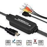 EEEkit HDMI a RCA, HDMI a AV 3RCA CVBs Compuesto de cable de audio y video convertidor Compatible...
