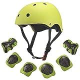 Comtervi Skateboard Helmet Kids,7 in 1 Set di protezioni per bambini con ginocchiere, gomitiere e protezioni per i polsi, protezioni per casco da skate per bambini (4)