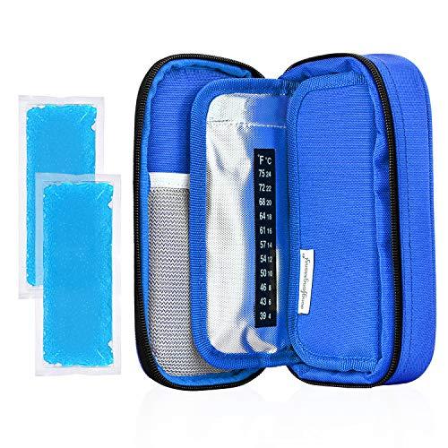 YOUSHARES Insulin kühltasche Reise Tasche - Medikamente Diabetiker Isoliert Tragbaren Kühler Tasche für Insulin Pen und Diabetes kühltasche mit 2 Kühlakkus (Blau) -