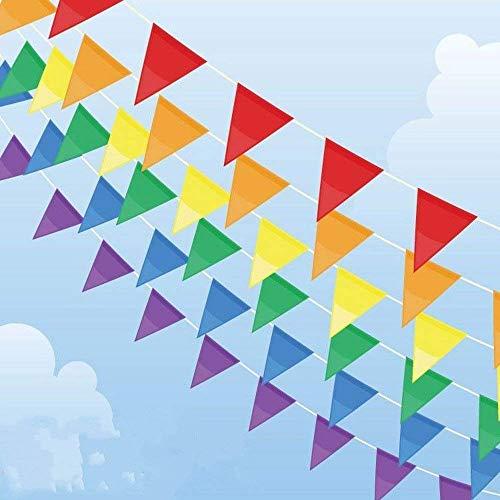 OFNMY 50 Meter Wimpelkette Polyester Wimpel Girlande Bunting Banner 75 Stück Wimpel Flagge mit Große Dreieck Fahnen für Dekoration, Weihnachten, Geburtstagsparty - Outdoor-flagge