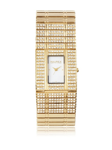 Haurex Italy: Women's Honey Watch - White Dial, IP Gold SS Bracelet w Swarovski