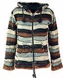 Guru-Shop Goa Patchwork Jacke mit Zipfelkapuze, Damen, Braun, Baumwolle, Size:L (40), Boho Jacken, Westen Alternative Bekleidung