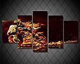 MIYCOLOR 5Peece Canvas Art Valentino Rossi Moto Poster Stampato Picture Wall Art per Room Decor Art Canvas Painting Picture Poster Prints, Unframed 20X35 20X45 20X55cm