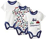 Twins Baby - Jungen Kurzarm-Body im 3er Pack 'Auto', Gr. 92, Mehrfarbig (weiss/blau 810002)