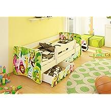 Best For Kids - Cama infantil, 80x 180,con protección anticaídas y dos cajones, diseño 44