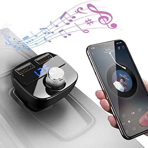 Manos Libres Bluetooth Coche Transmisor FM, Adaptador de Radio, Reproductor de MP3 Transmitter Cargador de Coche con Doble USB Puerto(5V-2.1A/5V-1.0A), Ranura para Tarjetas TF (Negro)