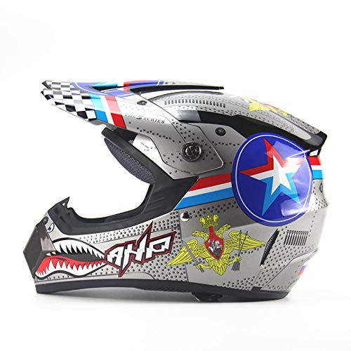 Casco de moto,pequeño ciclomotor Off-road casco de cara completa/Dirt Bike Casco de motocross/Carreras de pedal de descenso Pedal ATV Casco adecuado para niños/adultos,XL
