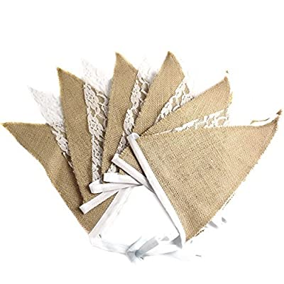 AvenueShop Wedding Party Holiday Decor Lace Flags Vintage Burlap Bunting Banner Flags 3.3M