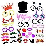 Weddecor 31PCS Divertente colorato Selfie Accessori Scena Fotografica per ADDOBBI, plissettatura, Compleanno, Matrimonio, Fumetto Fantasia Festa