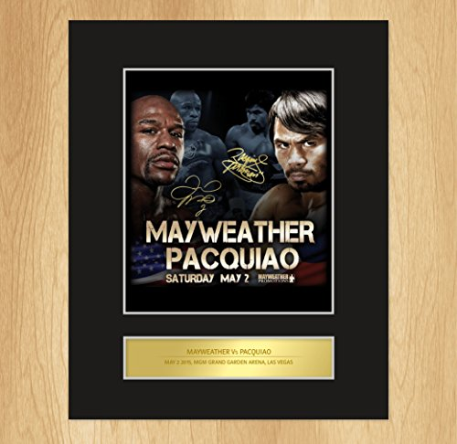 Floyd Mayweather vs Manny Pacquiao Signed Mounted Photo Display Boxing