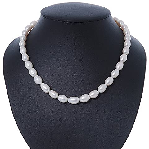 12mm Rice Shaped White Freshwater Pearl Necklace In Silver Tone