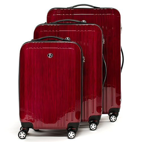 FERGÉ® Kofferset Hartschale 3-teilig Cannes Reise-Koffer Set leicht 3er Hartschalenkoffer Trolley Set (M L XL) 4 Zwillings-Rollen (360°) Hartschale rot