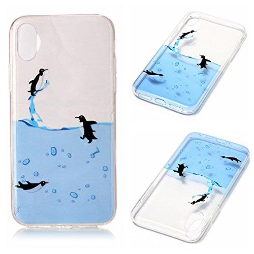 Cover Apple iPhone X, Voguecase Custodia Silicone Morbido Flessibile TPU Transparent Custodia Case Cover Protettivo Skin Caso (cuori rossi 05) Con Stilo Penna Pinguini di nuoto
