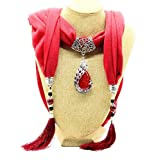Satyam Kraft Necklace Scarf Designer Stone Necklace scarf Pendant scarf Stole Muffler (Maroon)