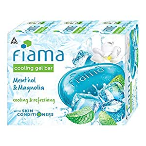 Fiama Cooling Gel Bathing Bar Menthol & Magnolia, with skin conditioners for moisturized skin, 125 g soap (Pack of 3)