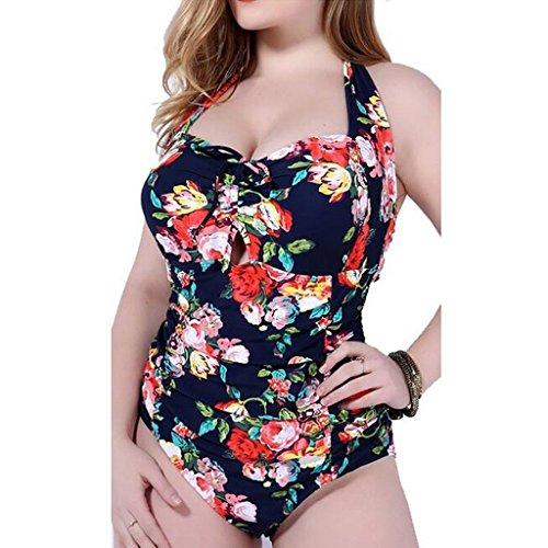 GWELL Vintage Blumen Frauen Übergröße Halter Einteiler Push Up Badeanzug Bademode blau 2XL