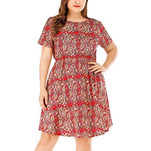 legant Damen Schlauchrock Casual Plus Size Rose Print Schmetterlingshülse Chiffon O Neck Rüschen Minikleid rot XL 8963