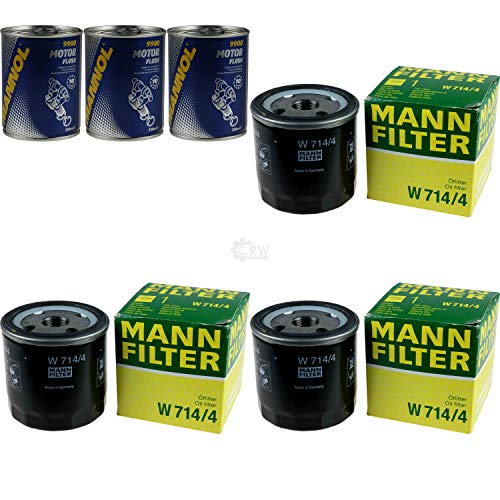 3x Original MANN Ölfilter W 714/4 + 3x SCT Motor Flush Motorspülung