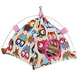 Questionno Cartoon Tent Shape Bird House Canvas Coral Velvet Parrot Warm Nest Cage (B)