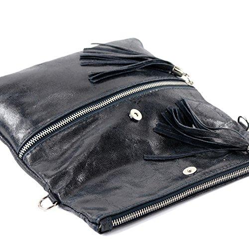 Italiano Borsa in pelle Clutch Borsa a tracolla borsa Clutch in pelle liscia serpente effetto T130 T130B Dunkelblau