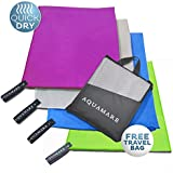 Microfibre Beach & Travel Towel (130cm x 80cm) Lightweight Super Absorbent Quick Dry Towels - Perfect for Yoga, Golf, Sports, Gym, Pilates, Camping, Swimming & the Home - Includes Carrying Bag