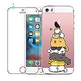 Coque iPhone 5, Coque iPhone 5S, Coque iPhone SE, Etui Téléphone en Silicone Souple Cute Serie de Chat Transparent pour iPhone 5 / 5S / SE