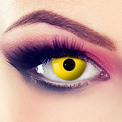Taffstyle® Farbige Linsen crazy Fun Halloween Karneval Kostüm Kontaktlinsen Motivlinsen 3 Monatslinsen ohne Stärke Yellow Gelb